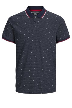 Jack & Jones Plus Size polo donkerblauw print