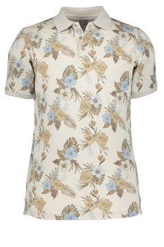 State of Art polo beige met bloemenprint