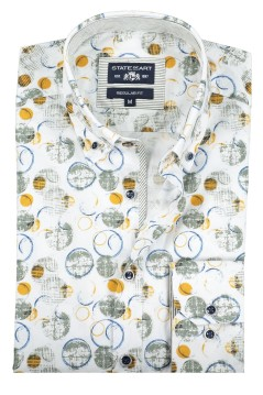 Shirt State of Art geel groen casual print