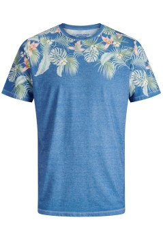 Jack & Jones Plus Size t-shirt blauw tropical