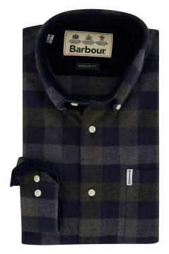 Barbour shirt donkerblauw grijs geruit Regular Fit