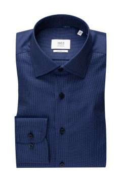 Eterna shirt donkerblauw geprint Comfort Fit