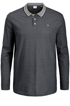 Jack & Jones polo lange mouw grijs Plus Size