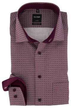 Olymp Modern Fit overhemd bordeaux pattroon