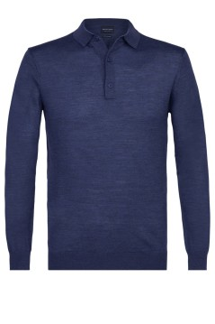 Polo lange mouw Profuomo donkerblauw wol