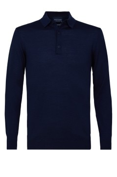 Profuomo wollen polo lange mouw navy