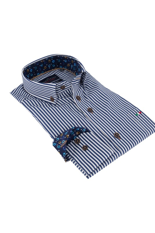 Portofino shirt blauw wit gestreept Regular Fit