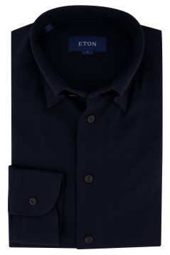 Eton shirt slim fit stretch donkerblauw pique