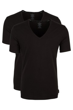 Calvin Klein T-shirt zwart 2-pack v-hals stretch