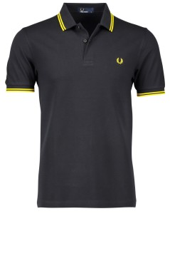 Fred Perry twin tipped polo zwart geel