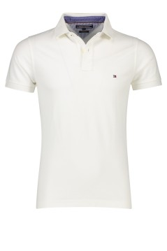 Tommy Hilfiger slim fit polo korte mouw katoen wit