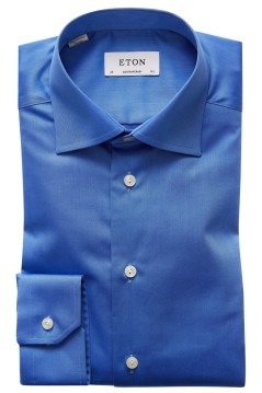 Eton overhemd blauw twill contemporary fit