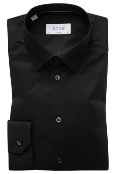 Eton zwart overhemd Super Slim poplin stretch