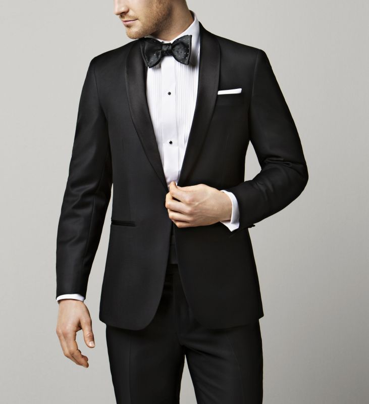 Eton black tie shirt wit plissé slim fit