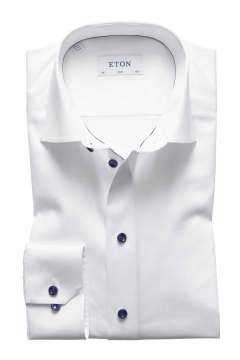 Eton overhemd Slim Fit wit navy details
