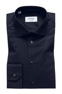 Eton overhemd Contemporary Fit zwart twill stretch