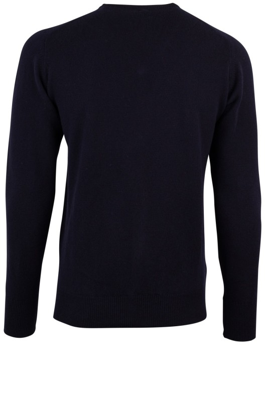 William Lockie pullover donkerblauw v-hals lamswol