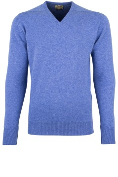 William Lockie pullover blauw v-hals lamswol