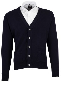 William Lockie vest donkerblauw lamswol