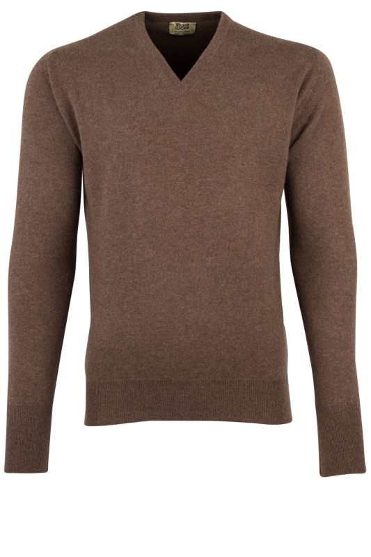 William Lockie trui bruin v-hals cashmere