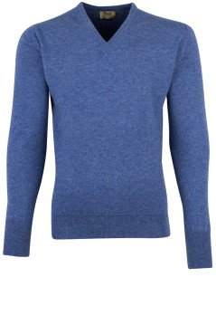 Pullover William Lockie blauw kasjmier v-hals