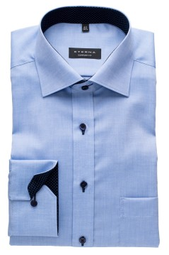 Eterna shirt bleu comfort fit strijkvrij