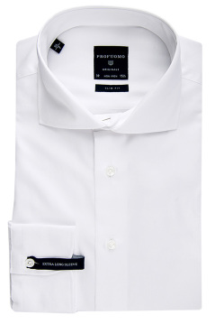 Profuomo shirt slim fit wit uni mouwlengte 7