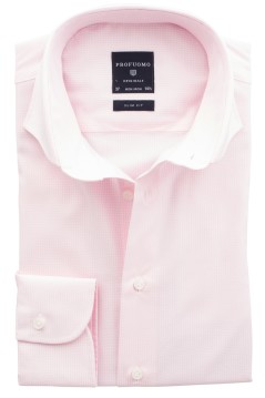 Profuomo overhemd cutaway slim fit rose/wit ruit