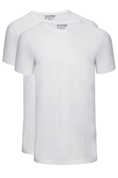 Slater t-shirt basic fit rond 2-pack wit