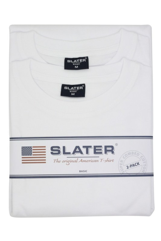 T-shirts Slater wit ronde hals basic 2-Pack
