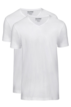 Slater t-shirt 2-pack wit v-hals basic fit katoen