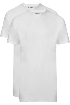 Slater extra lang t-shirt ronde hals wit 2-pack