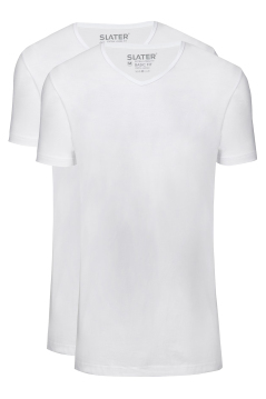 Slater extra long fit t-shirt v-hals wit 2-pack
