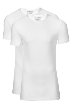 Slater t-shirt 2-pack wit ronde hals stretch