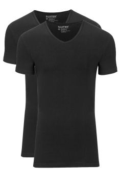 Slater Stretch t-shirt 2-pack zwart v-hals