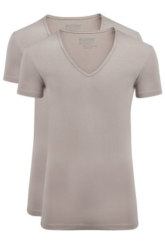 Slater Stretch t-shirt beige invisible 2-pack