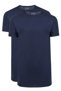 Slater t-shirt Basic Fit navy extra lang 2-pack
